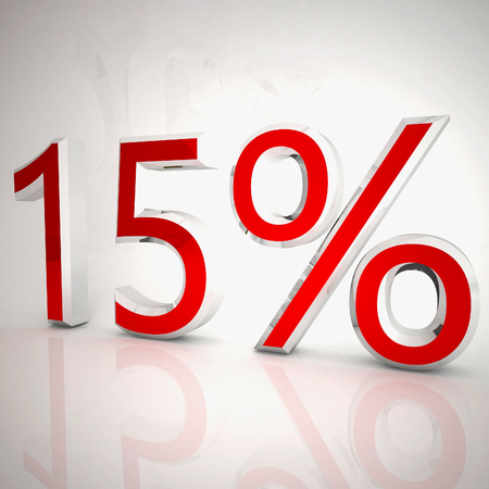 15 per cent over white reflecting background, 3d rendering Stockfoto