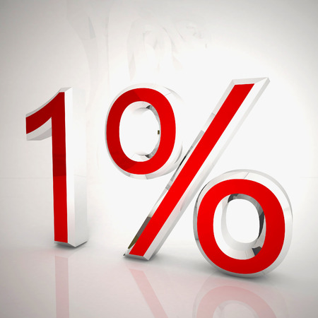 1 per cent over white reflecting background, 3d rendering Stockfoto