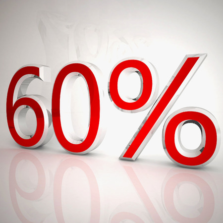 60 per cent over white reflecting background, 3d rendering Stockfoto
