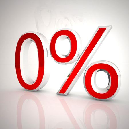 Zero per cent over white reflecting background, 3d rendering Stockfoto