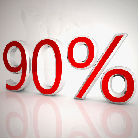 90 per cent over white reflecting background, 3d rendering Stockfoto