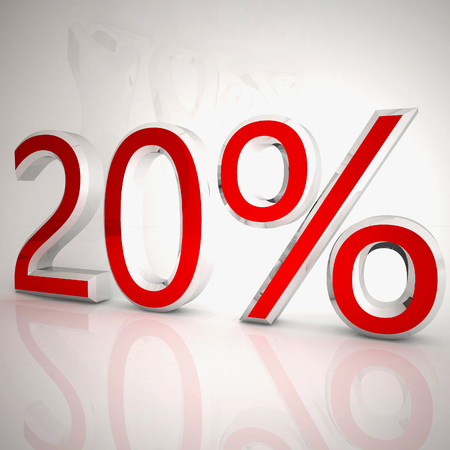 20 per cent over white reflecting background, 3d rendering
