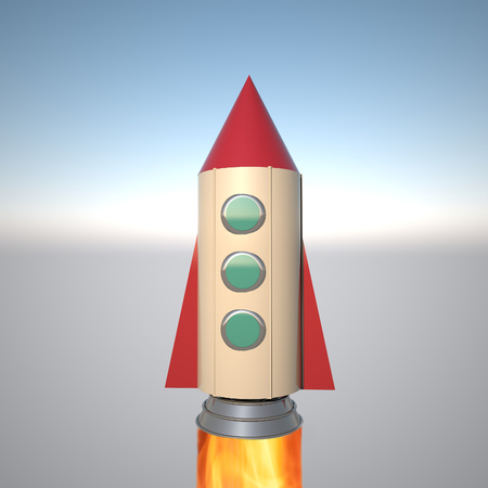 Rocket departing from the Earth, 3d rendering