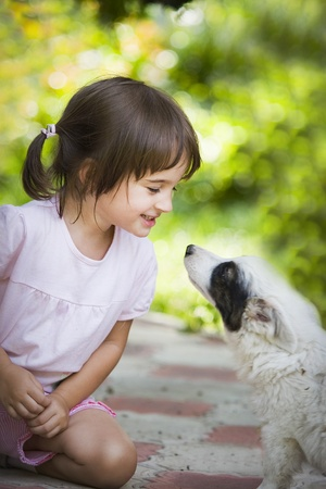 Little girl with puppy photo