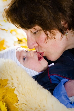 Mothers kiss photo