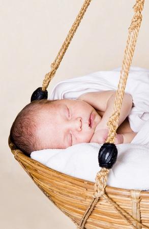 Newborn in the basket Stock Photo - 9819653