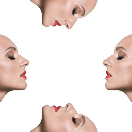 Rostro de mujer sobre un fondo blanco. Clon. Rostro clonado. Máscara. Moda.