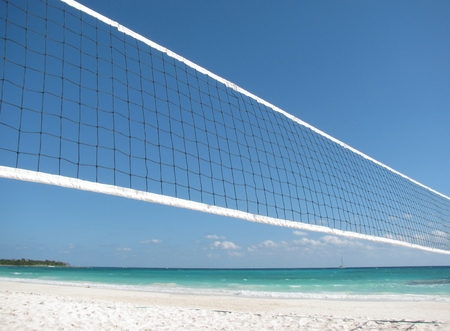 Beautiful beach with a volleyball net
