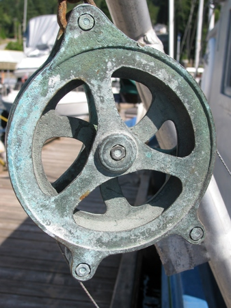 winch: Closeup of sailboat winch, rope holder