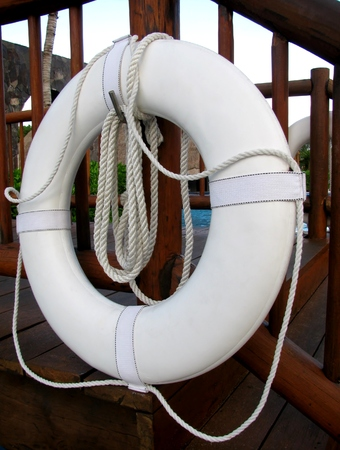 life preserver: Life preserver floating near deep water pool