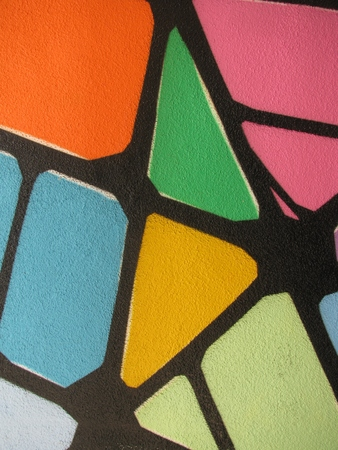 wall paint: Red yellow orange pink green abstract wall paint, close-up, background