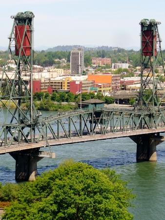 willamette: Steel Bridge Over Willamette River. Portland. USA
