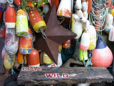 buoys: Colorful hanging buoys and rusty metal star