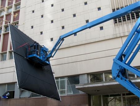 electrical equipment: Film Lighting Technician at work.