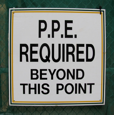 personal protective equipment: Personal protective equipment (PPE) required beyond this point sign