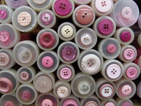 Pink button tube sale display