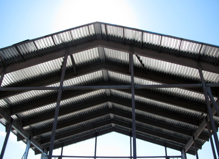 reflective: Corrugated roof top for storage or pavilion