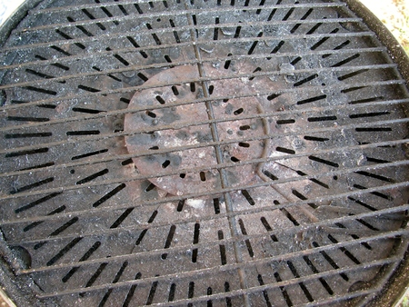cruddy: Portable barbecue grill detail. Stock Photo