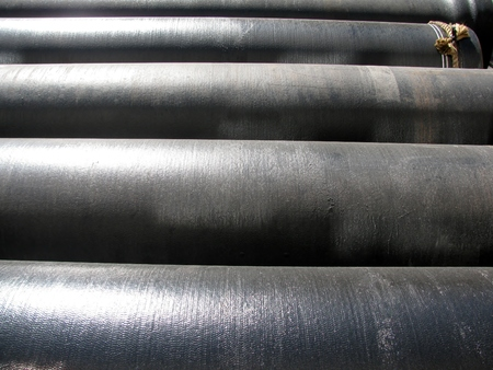 diameter: Black water pipes of large diameter at the construction site Stock Photo