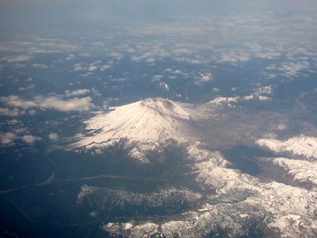 helens: Aerial view of Mount St. Helens, Washington. USA Stock Photo