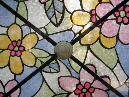 Detail of stained glass panel