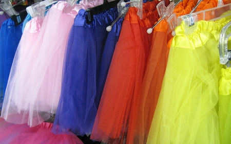 Colourful tutus on a store display