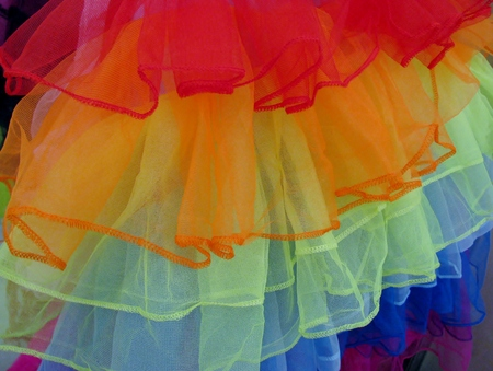 Colourful multilayered tutu close up
