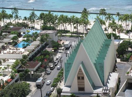 Aerial view of Waikiki city in Oahu, Hawaii, USA