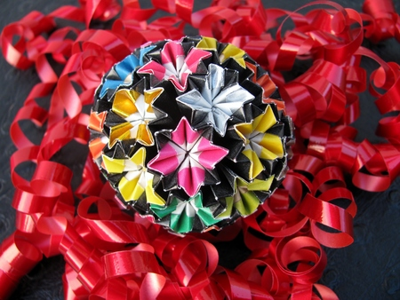 Kusudama Origami Medicine Paper Ball And Red Twirled Party Ribbons
