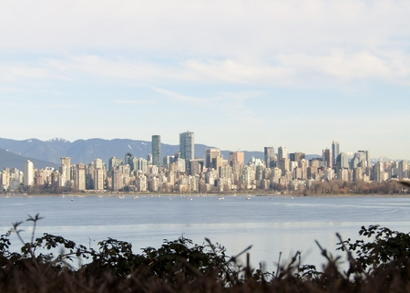 Vancouver Downtown City view from Point Grey, BC, Canada.