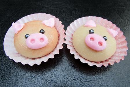 Delicious cute pig cookies closeup