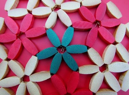 Vintage wood bead trivet detail