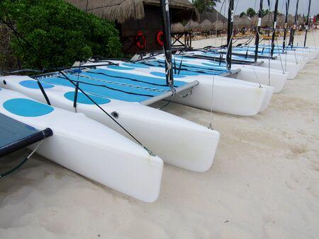 Catamaran sailboats on tropical beach of Playa del Carmen, Yucatan Peninsula, Riviera Maya. Mexico