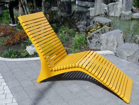 Chaise de patio extérieur en métal moderne jaune