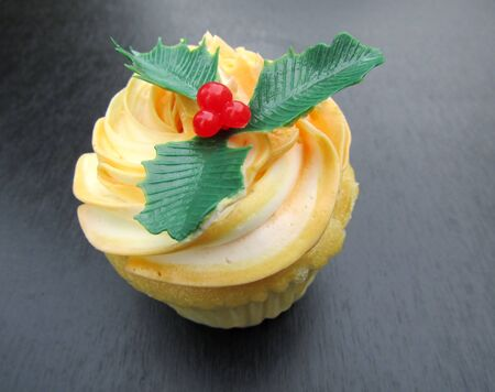 Three holly leaves with red berries cupcake decoration topper