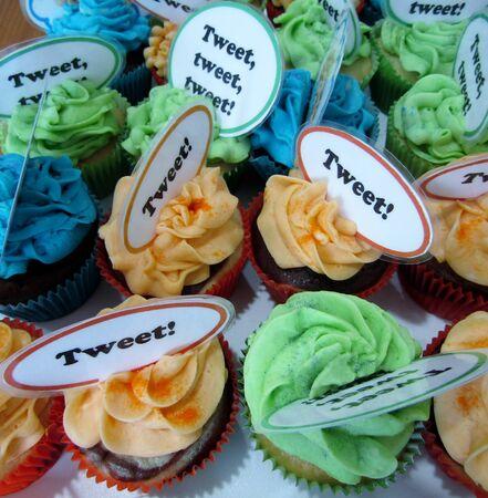 Colorful Tweet Cupcakes