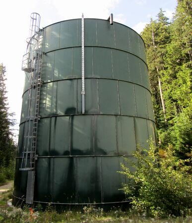 Large water storage tower at Cypress Mountain,  West Vancouver, British Columbia, Canada Stock Photo