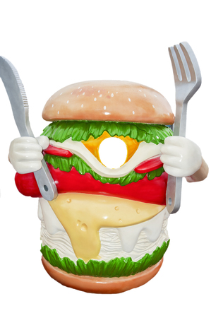personification: Burger hold knife and fork