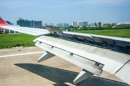 downtime: the wing features after the plane landed  Stock Photo