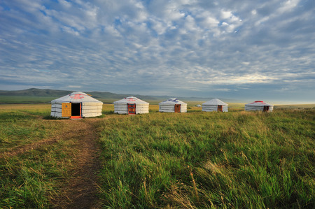 A row of yurts in the grasslands of Inner Mongolia