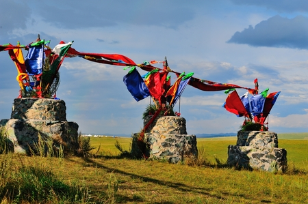 divergence: the folk culture of obo in Hulun Buir grassland, Inner Mongolia  Stock Photo