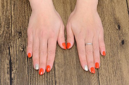 upper limb: A pair hands with manicure