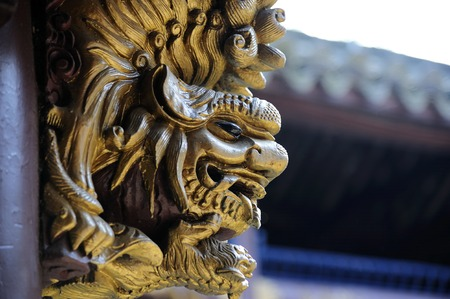 ancient lion: Ancient Chinese lion carving