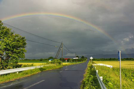 The rainbows after the rain on the country roads