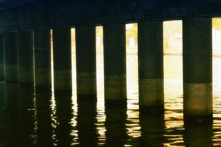 Sunlight passes under the bridge Stock Photo