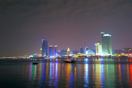 Xiamen coastal night view Фото со стока