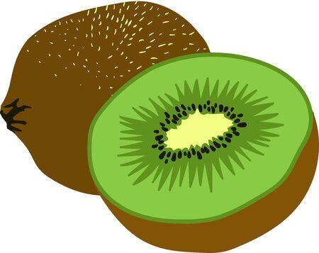 Green kiwi, chopped, on a white background in vector illustration Illusztráció