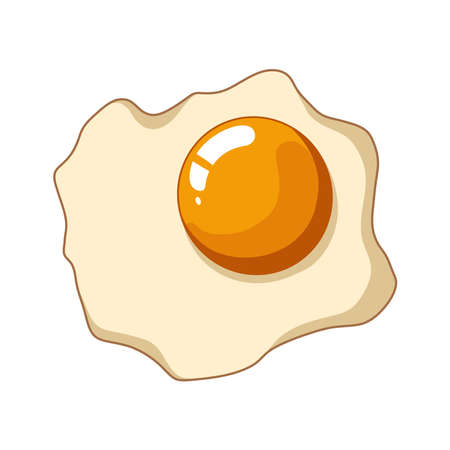 Fried fried eggs on a white background in vector illustration.