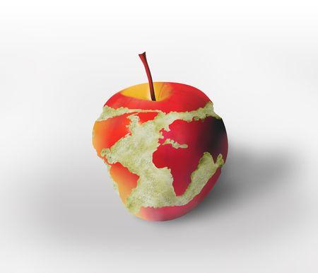 Weltkarte, die geschnitzt in den Apfel