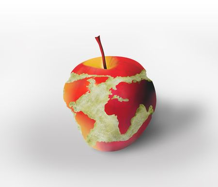 world map carved in the apple Stock Photo